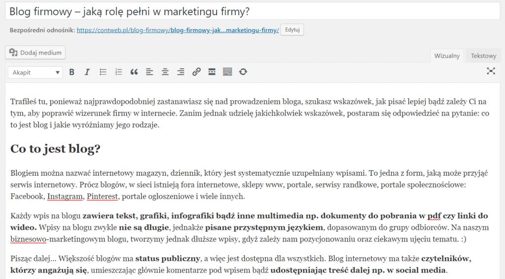 blog firmowy - prowadzenie